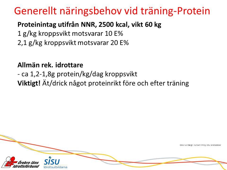 Generellt näringsbehov vid träning-Protein Allmän rek.
