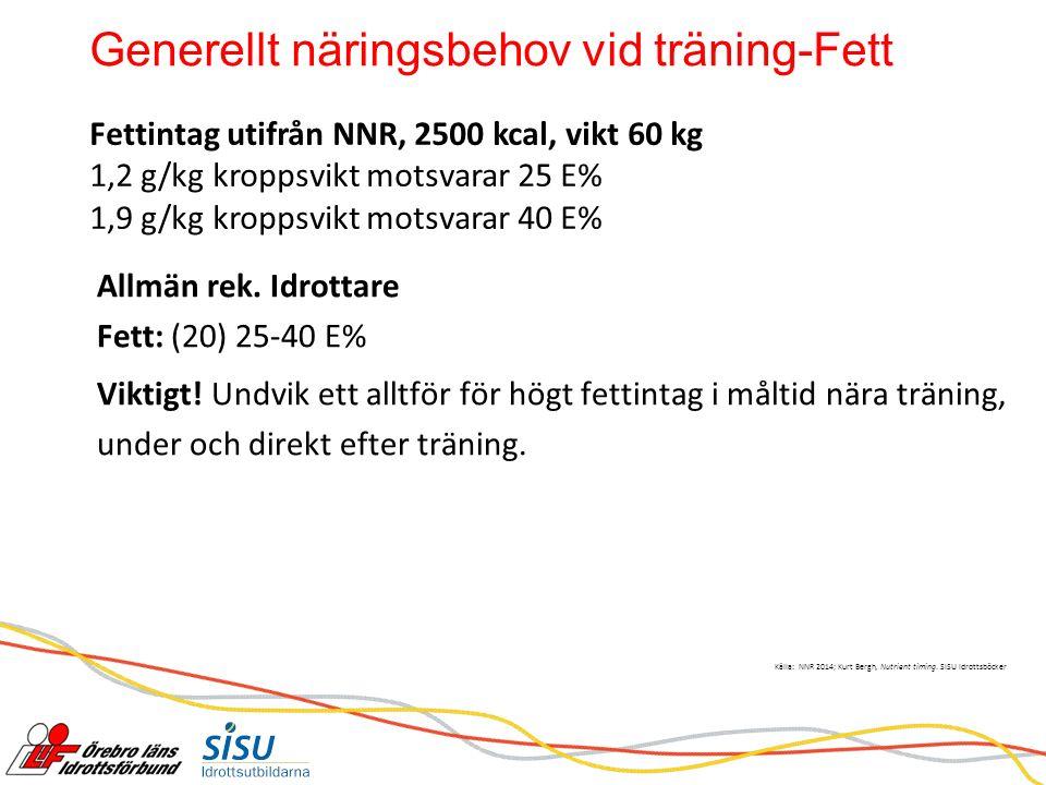Generellt näringsbehov vid träning-Fett Källa: NNR 2014; Kurt Bergh, Nutrient timing.