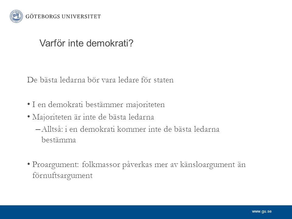 www.gu.se Varför inte demokrati.