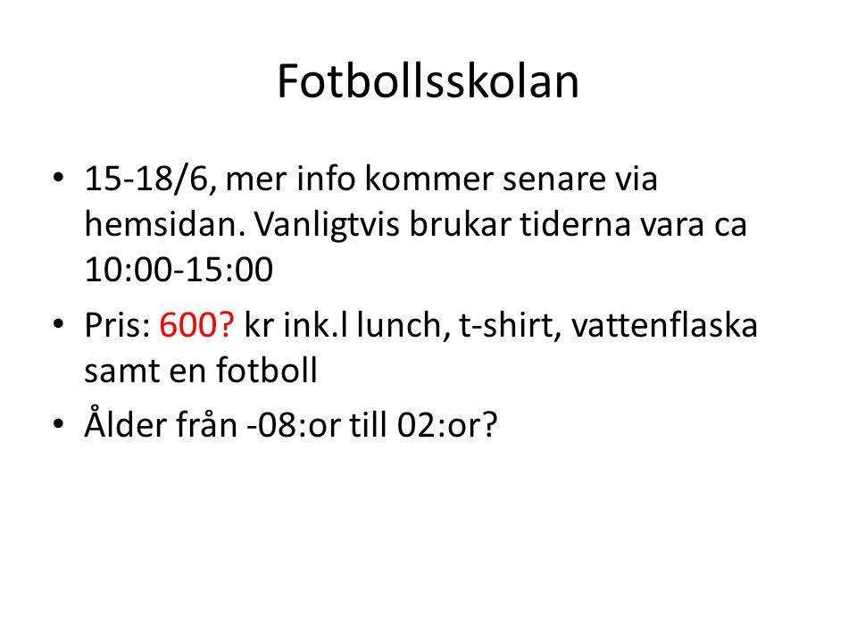 Fotbollsskolan 15-18/6, mer info kommer senare via hemsidan.
