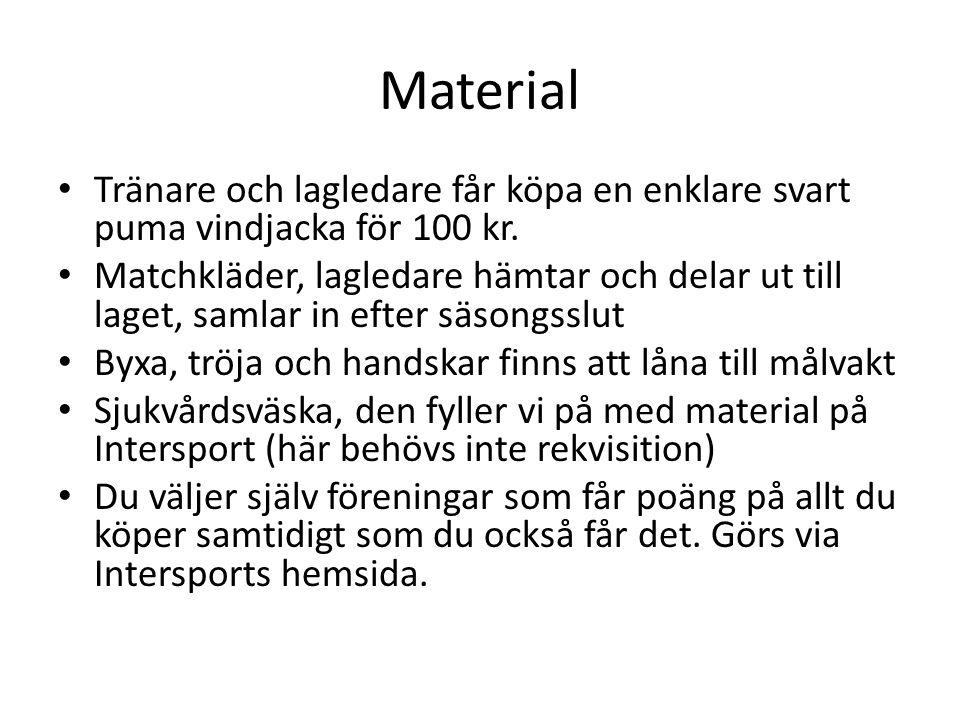 Material Tränare och lagledare får köpa en enklare svart puma vindjacka för 100 kr.