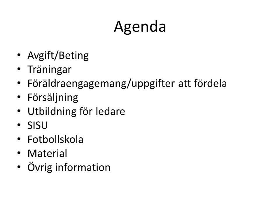 Agenda Avgift/Beting Träningar Föräldraengagemang/uppgifter att fördela Försäljning Utbildning för ledare SISU Fotbollskola Material Övrig information