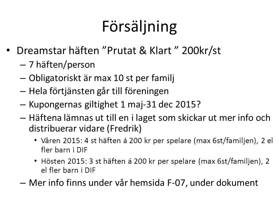 Försäljning Dreamstar häften Prutat & Klart 200kr/st – 7 häften/person – Obligatoriskt är max 10 st per familj – Hela förtjänsten går till föreningen – Kupongernas giltighet 1 maj-31 dec 2015.