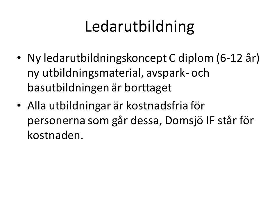 Ledarutbildning Ny ledarutbildningskoncept C diplom (6-12 år) ny utbildningsmaterial, avspark- och basutbildningen är borttaget Alla utbildningar är kostnadsfria för personerna som går dessa, Domsjö IF står för kostnaden.