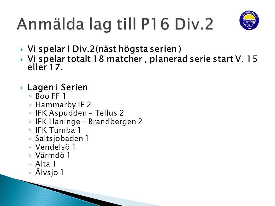  Vi spelar I Div.2(näst högsta serien )  Vi spelar totalt 18 matcher, planerad serie start V.