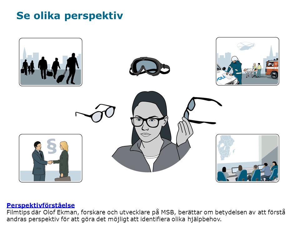 Myndigheten för samhällsskydd och beredskap Se olika perspektiv Perspektivförståelse Perspektivförståelse Filmtips där Olof Ekman, forskare och utvecklare på MSB, berättar om betydelsen av att förstå andras perspektiv för att göra det möjligt att identifiera olika hjälpbehov.