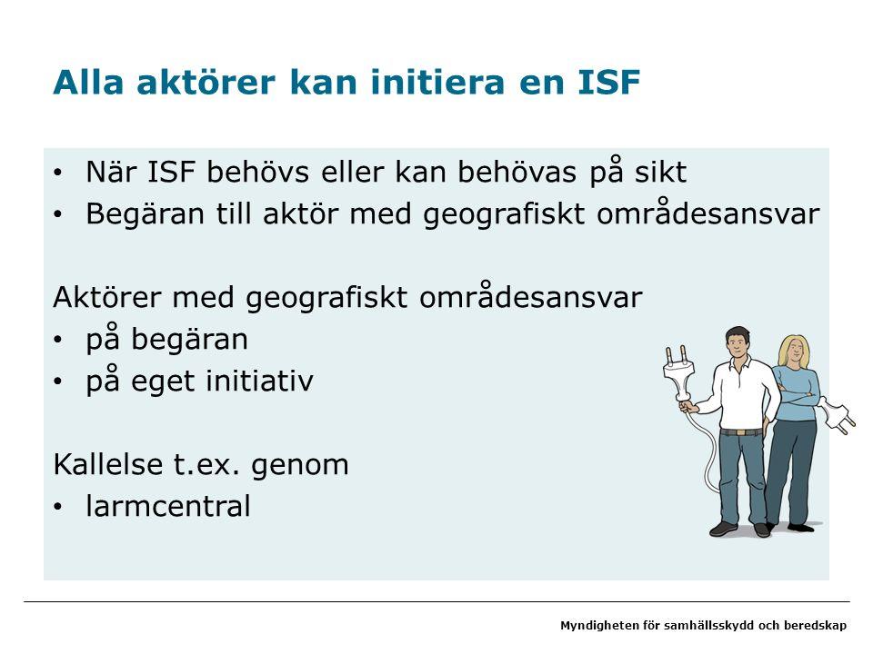 Myndigheten för samhällsskydd och beredskap Alla aktörer kan initiera en ISF När ISF behövs eller kan behövas på sikt Begäran till aktör med geografiskt områdesansvar Aktörer med geografiskt områdesansvar på begäran på eget initiativ Kallelse t.ex.