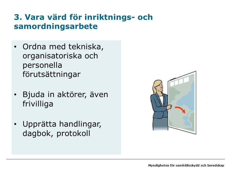 Myndigheten för samhällsskydd och beredskap Ordna med tekniska, organisatoriska och personella förutsättningar Bjuda in aktörer, även frivilliga Upprätta handlingar, dagbok, protokoll 3.