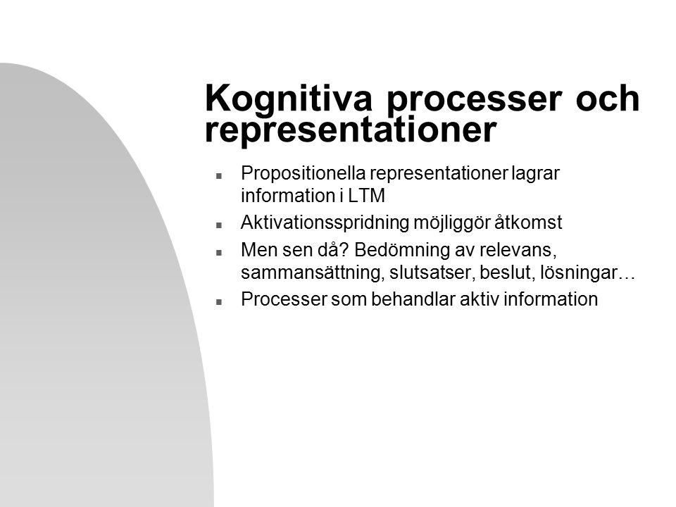 Kognitiva processer och representationer n Propositionella representationer lagrar information i LTM n Aktivationsspridning möjliggör åtkomst n Men sen då.