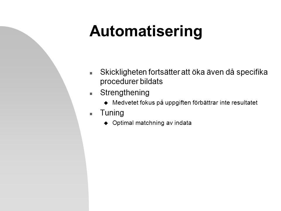 Automatisering n Skickligheten fortsätter att öka även då specifika procedurer bildats n Strengthening u Medvetet fokus på uppgiften förbättrar inte resultatet n Tuning u Optimal matchning av indata