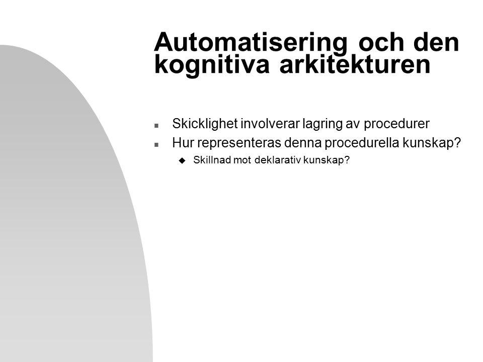 Automatisering och den kognitiva arkitekturen n Skicklighet involverar lagring av procedurer n Hur representeras denna procedurella kunskap.