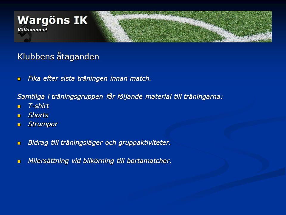 Klubbens åtaganden Fika efter sista träningen innan match.