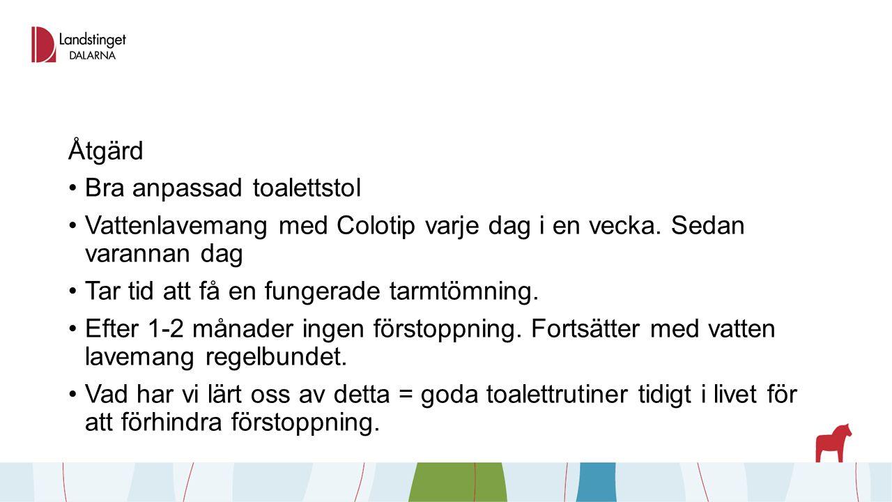 Åtgärd Bra anpassad toalettstol Vattenlavemang med Colotip varje dag i en vecka.