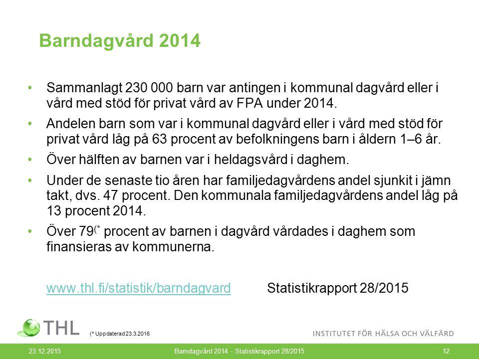 Barndagvård 2014 23.12.2015Barndagvård 2014 - Statistikrapport 28/201512 Sammanlagt 230 000 barn var antingen i kommunal dagvård eller i vård med stöd för privat vård av FPA under 2014.