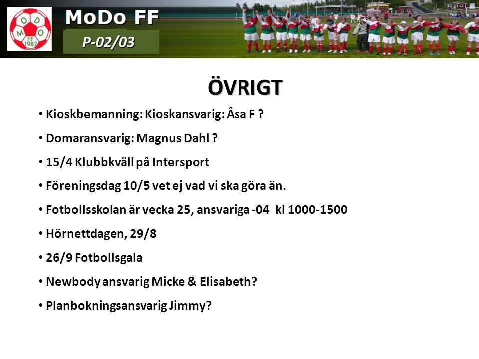 ÖVRIGT Kioskbemanning: Kioskansvarig: Åsa F . Domaransvarig: Magnus Dahl .