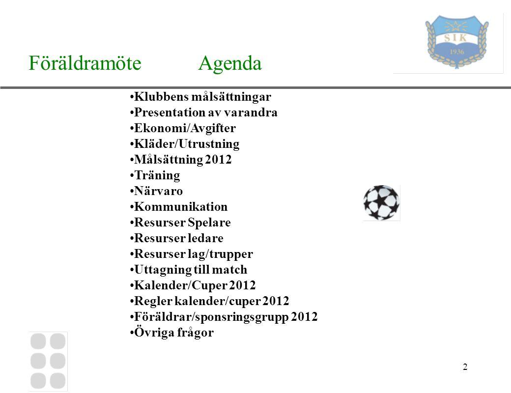 3 Föräldramöte Klubbens målsättningar Att erbjuda så många barn och ungdomar som möjligt fotbollsspel i Sköndals IK.