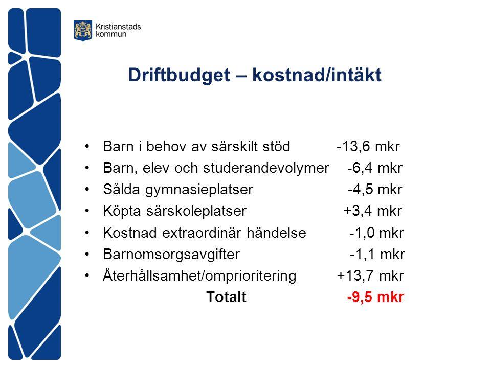 Driftbudget – kostnad/intäkt Barn i behov av särskilt stöd -13,6 mkr Barn, elev och studerandevolymer -6,4 mkr Sålda gymnasieplatser -4,5 mkr Köpta sä