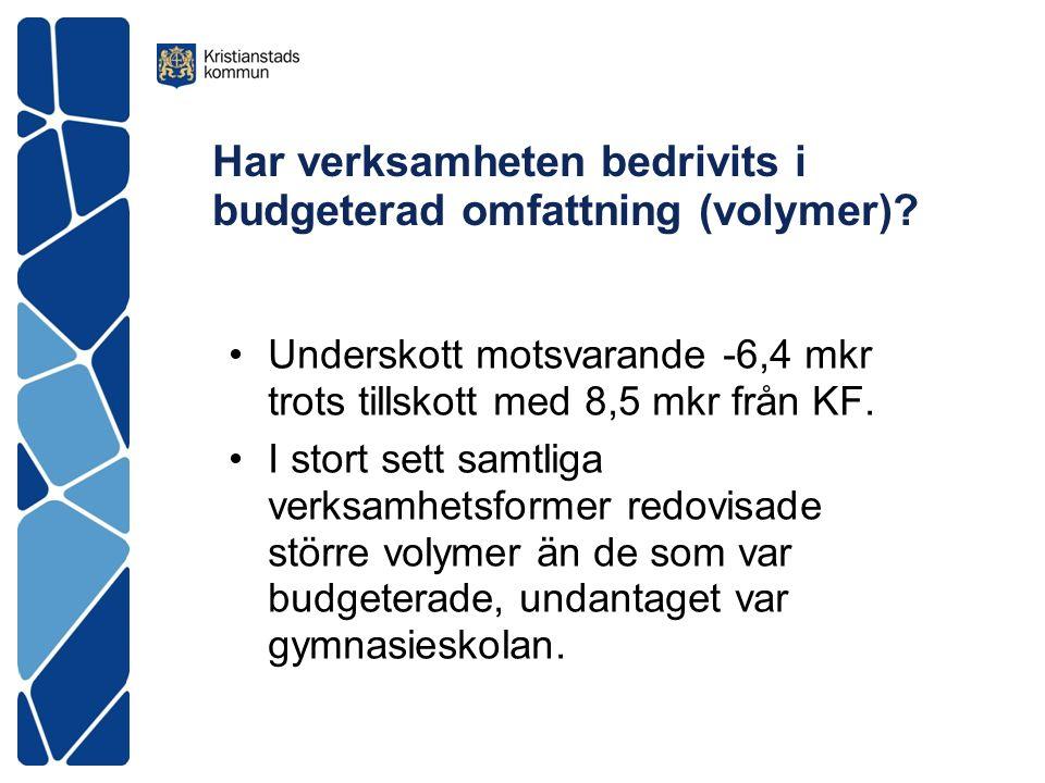 Har verksamheten bedrivits i budgeterad omfattning (volymer)? Underskott motsvarande -6,4 mkr trots tillskott med 8,5 mkr från KF. I stort sett samtli