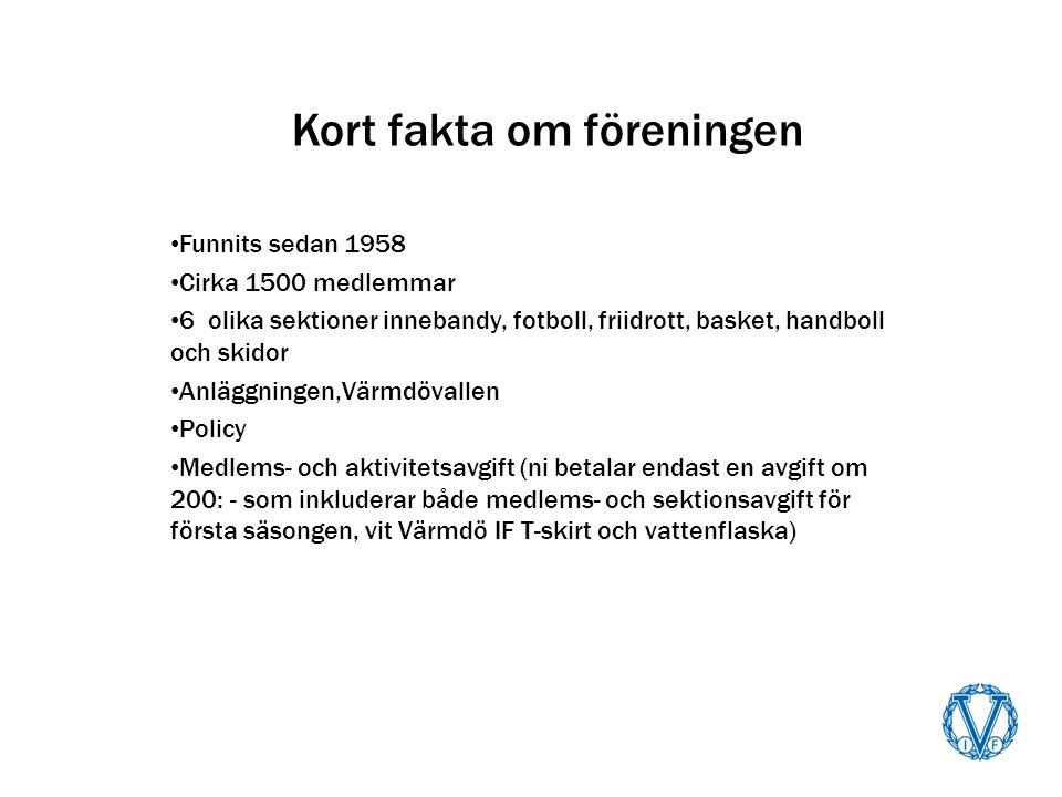 Kort fakta om föreningen Funnits sedan 1958 Cirka 1500 medlemmar 6 olika sektioner innebandy, fotboll, friidrott, basket, handboll och skidor Anläggningen,Värmdövallen Policy Medlems- och aktivitetsavgift (ni betalar endast en avgift om 200: - som inkluderar både medlems- och sektionsavgift för första säsongen, vit Värmdö IF T-skirt och vattenflaska)