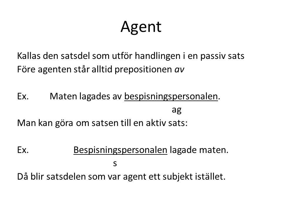 Agent Kallas den satsdel som utför handlingen i en passiv sats Före agenten står alltid prepositionen av Ex.
