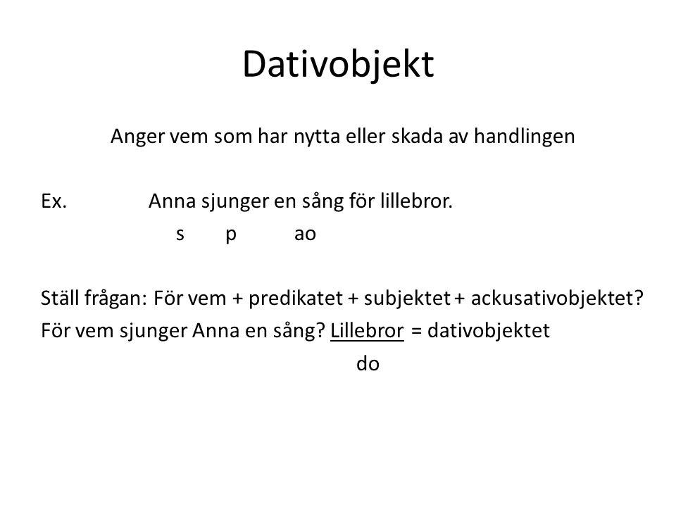 Dativobjekt Anger vem som har nytta eller skada av handlingen Ex.