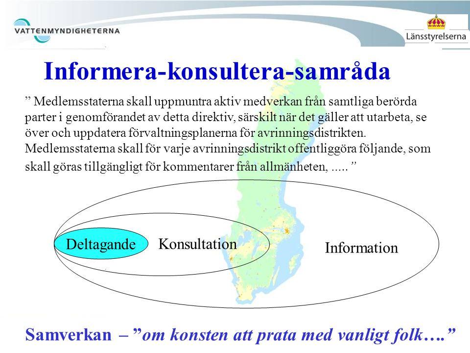 """Deltagande Information Konsultation """" Medlemsstaterna skall uppmuntra aktiv medverkan från samtliga berörda parter i genomförandet av detta direktiv,"""