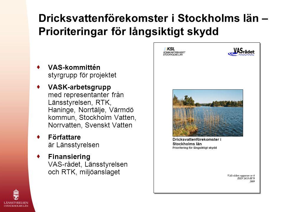 Dricksvattenförekomster i Stockholms län – Prioriteringar för långsiktigt skydd  VAS-kommittén styrgrupp för projektet  VASK-arbetsgrupp med representanter från Länsstyrelsen, RTK, Haninge, Norrtälje, Värmdö kommun, Stockholm Vatten, Norrvatten, Svenskt Vatten  Författare är Länsstyrelsen  Finansiering VAS-rådet, Länsstyrelsen och RTK, miljöanslaget