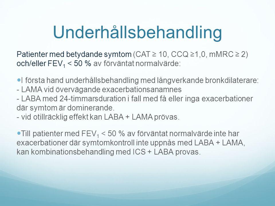 Underhållsbehandling Patienter med betydande symtom (CAT ≥ 10, CCQ ≥1,0, mMRC ≥ 2) och/eller FEV 1 < 50 % av förväntat normalvärde: I första hand underhållsbehandling med långverkande bronkdilaterare: - LAMA vid övervägande exacerbationsanamnes - LABA med 24-timmarsduration i fall med få eller inga exacerbationer där symtom är dominerande.