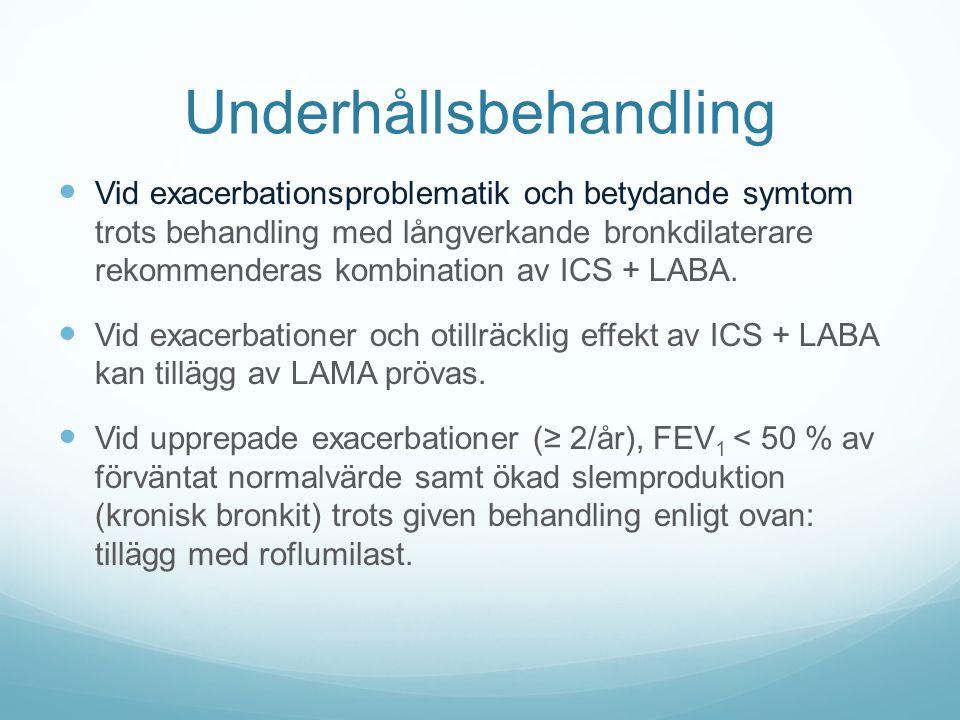 Underhållsbehandling Vid exacerbationsproblematik och betydande symtom trots behandling med långverkande bronkdilaterare rekommenderas kombination av ICS + LABA.