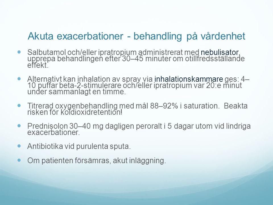 Akuta exacerbationer - behandling på vårdenhet Salbutamol och/eller ipratropium administrerat med nebulisator, upprepa behandlingen efter 30–45 minuter om otillfredsställande effekt.