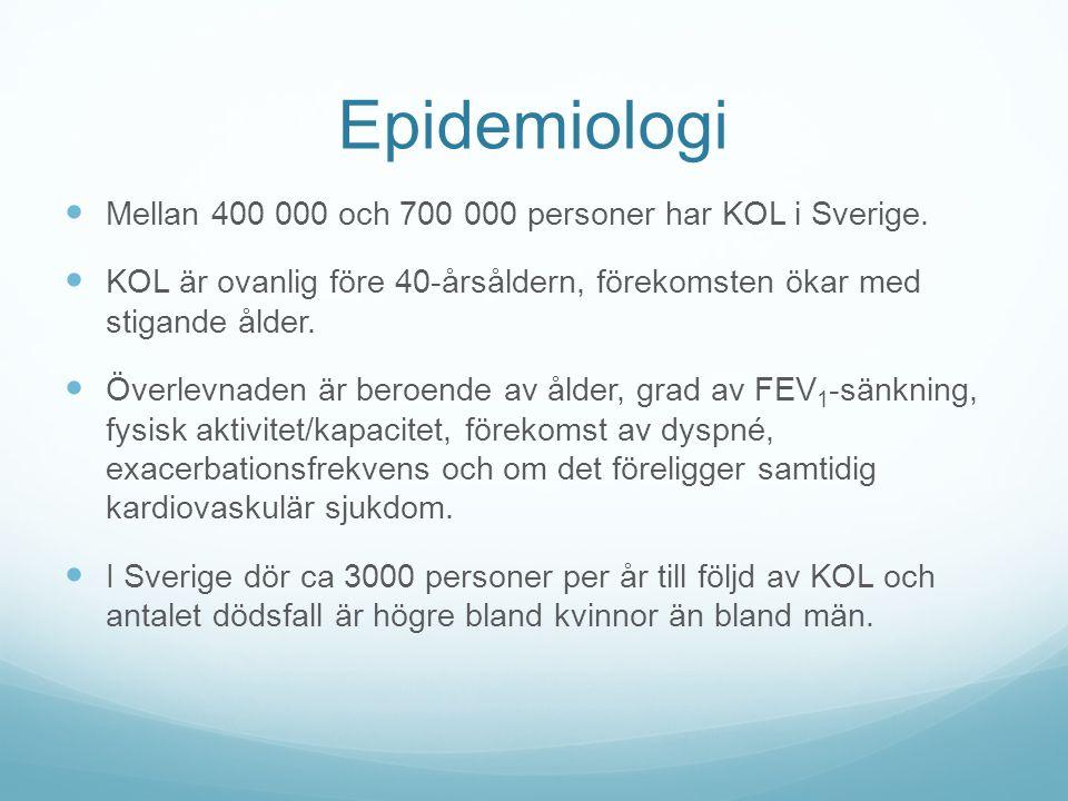 Epidemiologi Mellan 400 000 och 700 000 personer har KOL i Sverige.