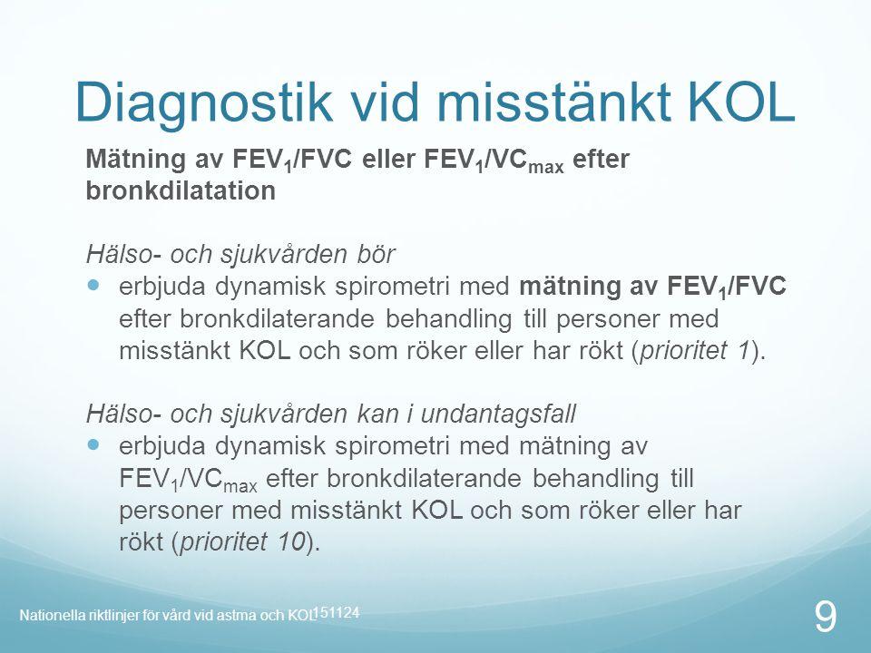 Punktlista nivå 1: Century Gothic, normal 19pt Nivå 2: Century Gothic normal 19pt Rubrik: Century Gothic, bold 33pt Diagnostik vid misstänkt KOL Mätning av FEV 1 /FVC eller FEV 1 /VC max efter bronkdilatation Hälso- och sjukvården bör erbjuda dynamisk spirometri med mätning av FEV 1 /FVC efter bronkdilaterande behandling till personer med misstänkt KOL och som röker eller har rökt (prioritet 1).