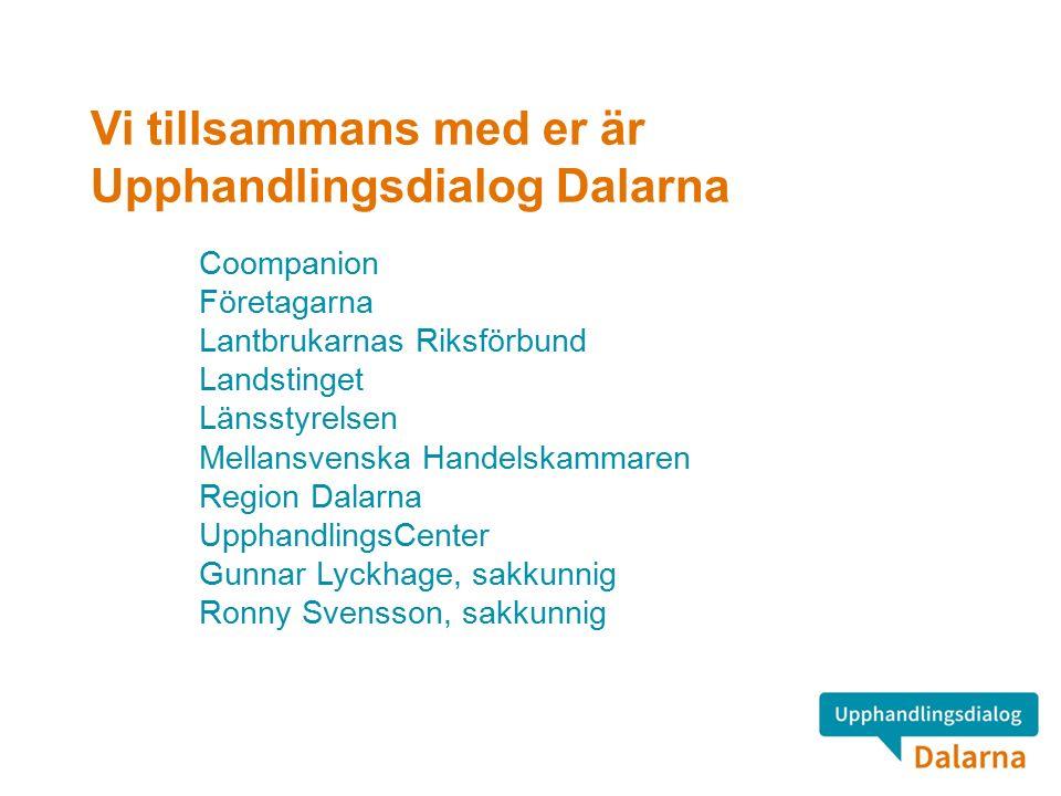 Vi tillsammans med er är Upphandlingsdialog Dalarna Coompanion Företagarna Lantbrukarnas Riksförbund Landstinget Länsstyrelsen Mellansvenska Handelskammaren Region Dalarna UpphandlingsCenter Gunnar Lyckhage, sakkunnig Ronny Svensson, sakkunnig