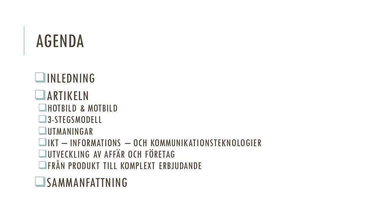 AGENDA  INLEDNING  ARTIKELN  HOTBILD & MOTBILD  3-STEGSMODELL  UTMANINGAR  IKT – INFORMATIONS – OCH KOMMUNIKATIONSTEKNOLOGIER  UTVECKLING AV AFFÄR OCH FÖRETAG  FRÅN PRODUKT TILL KOMPLEXT ERBJUDANDE  SAMMANFATTNING