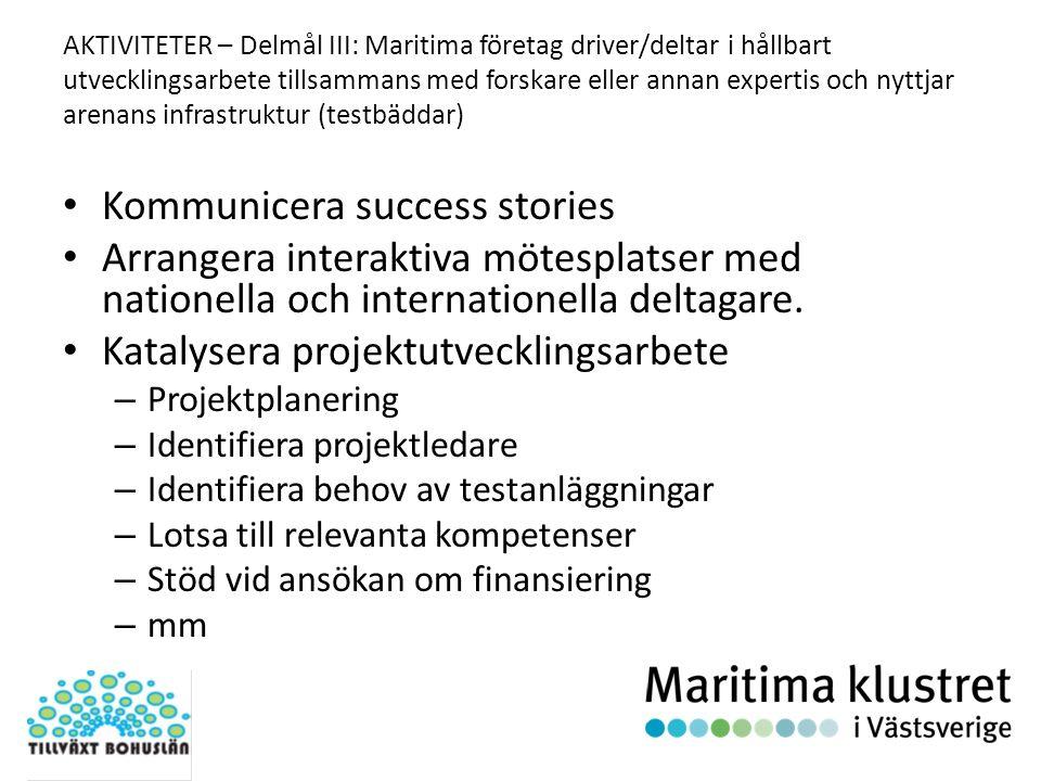 AKTIVITETER – Delmål III: Maritima företag driver/deltar i hållbart utvecklingsarbete tillsammans med forskare eller annan expertis och nyttjar arenans infrastruktur (testbäddar) Kommunicera success stories Arrangera interaktiva mötesplatser med nationella och internationella deltagare.