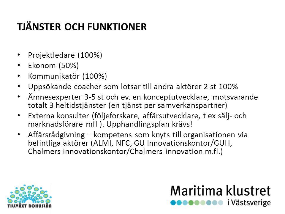 PROJEKTETS RELATION TILL MARITIMA KLUSTRET OCH FÖRSTUDIER Maritima klustret Maritim Utvecklingsarena i Bohuslän Test och pilotmiljöer Projekt x SEK Extern finansiering för infrastruktur- investeringar och utvecklingsprojekt till viss del baserade på förstudierna SEK ERUF/medfinans Del- kluster Partnerskapet Projekt med olika konstellationer av: SMF, stora företag, GU, Chalmers, SP, Kommuner, myndigheter, m.fl.