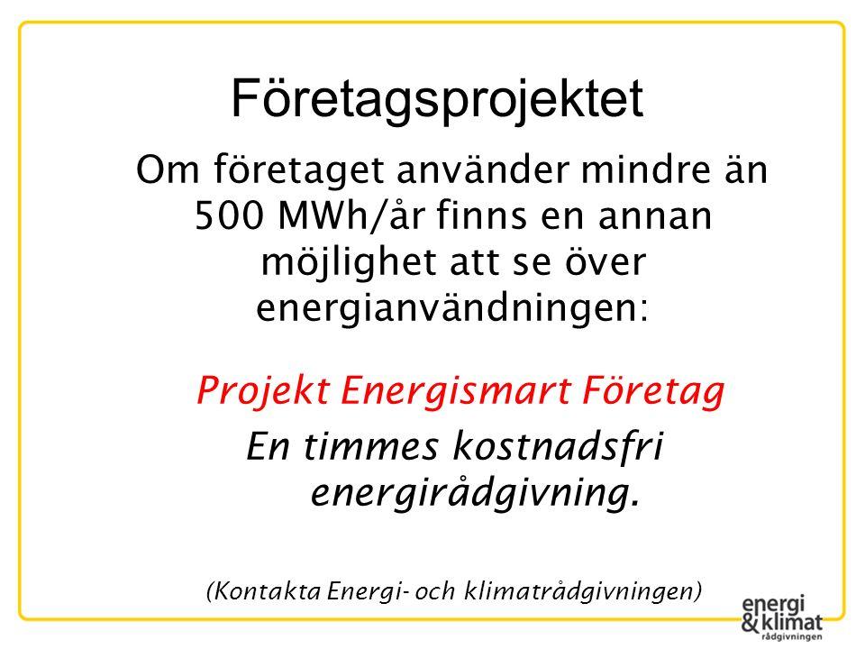 Företagsprojektet Om företaget använder mindre än 500 MWh/år finns en annan möjlighet att se över energianvändningen: Projekt Energismart Företag En timmes kostnadsfri energirådgivning.