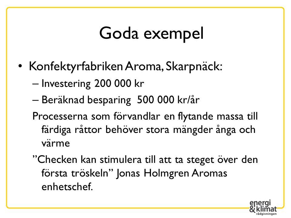 Goda exempel Konfektyrfabriken Aroma, Skarpnäck: – Investering 200 000 kr – Beräknad besparing 500 000 kr/år Processerna som förvandlar en flytande ma