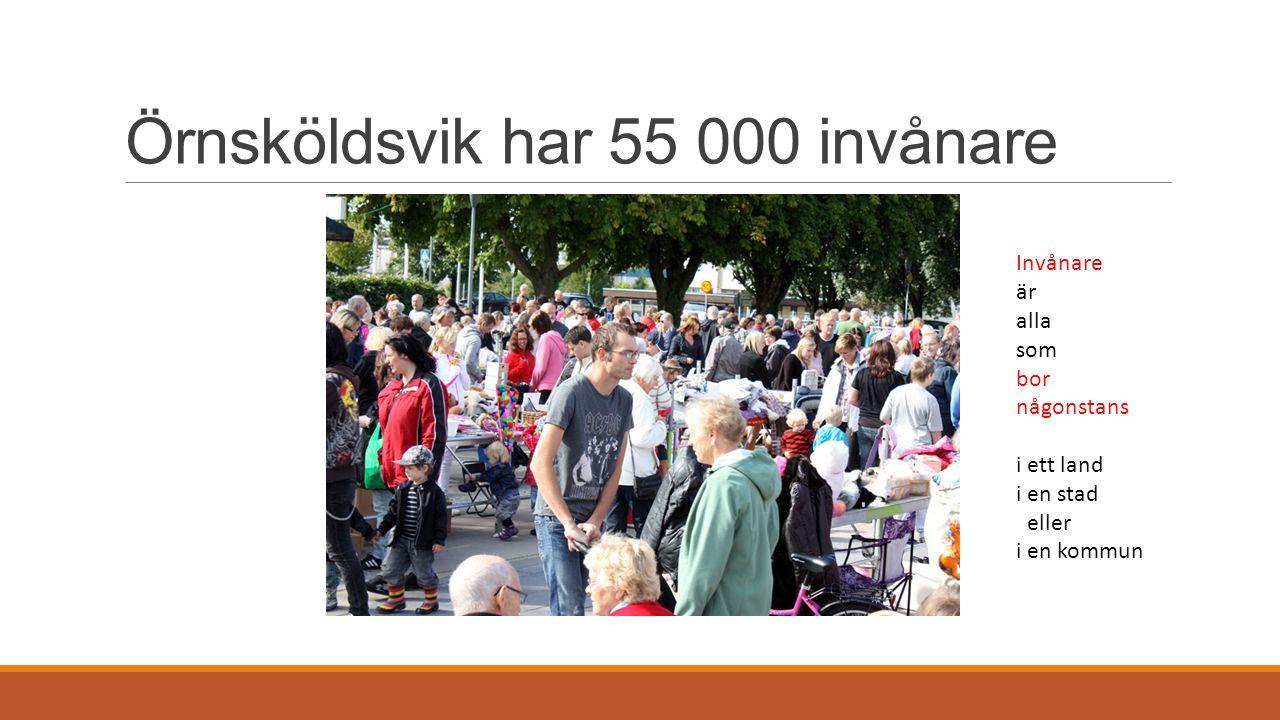 Örnsköldsvik har 55 000 invånare Invånare är alla som bor någonstans i ett land i en stad eller i en kommun