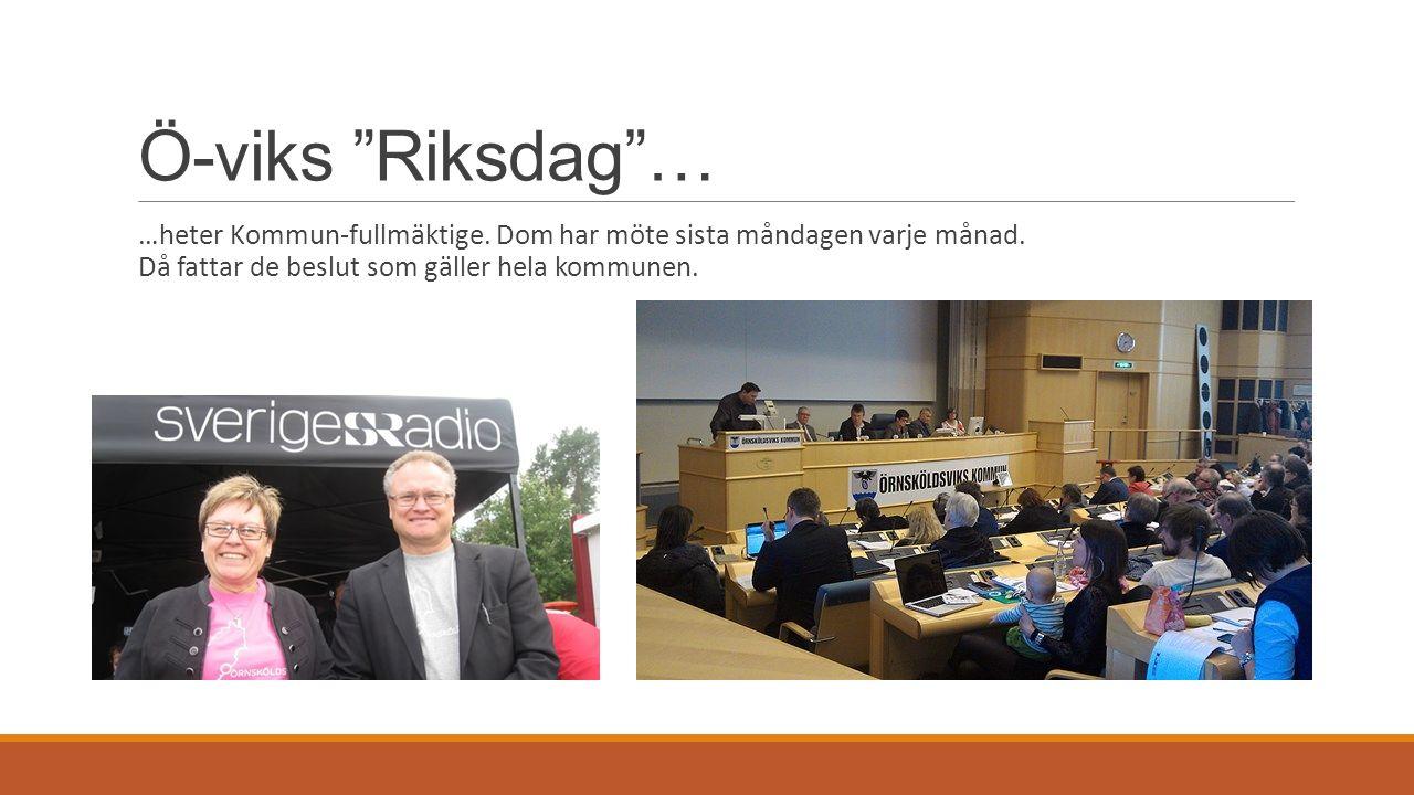 Ö-viks Riksdag … …heter Kommun-fullmäktige. Dom har möte sista måndagen varje månad.