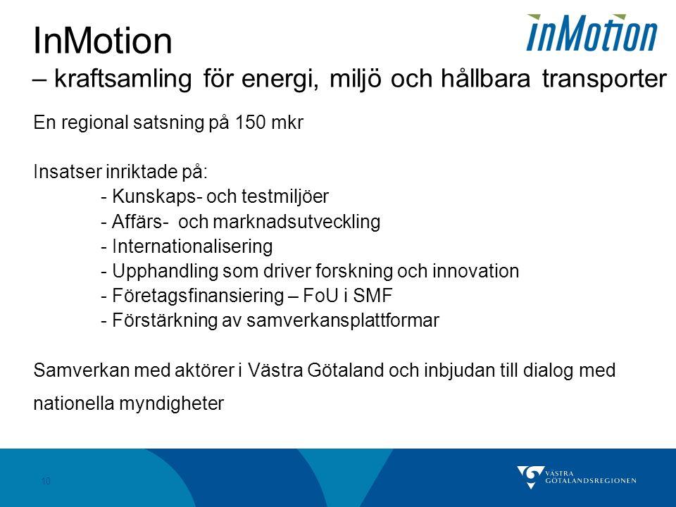 10 InMotion – kraftsamling för energi, miljö och hållbara transporter En regional satsning på 150 mkr Insatser inriktade på: - Kunskaps- och testmiljöer - Affärs- och marknadsutveckling - Internationalisering - Upphandling som driver forskning och innovation - Företagsfinansiering – FoU i SMF - Förstärkning av samverkansplattformar Samverkan med aktörer i Västra Götaland och inbjudan till dialog med nationella myndigheter