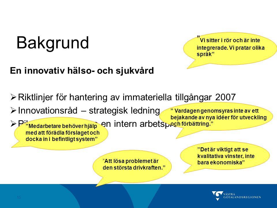 15 En innovativ hälso- och sjukvård  Riktlinjer för hantering av immateriella tillgångar 2007  Innovationsråd – strategisk ledning  Pilotprojekt – skapa en intern arbetsprocess Bakgrund Att lösa problemet är den största drivkraften. Vardagen genomsyras inte av ett bejakande av nya idéer för utveckling och förbättring. Det är viktigt att se kvalitativa vinster, inte bara ekonomiska Medarbetare behöver hjälp med att förädla förslaget och docka in i befintligt system Vi sitter i rör och är inte integrerade.