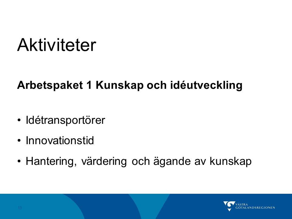 19 Aktiviteter Arbetspaket 1 Kunskap och idéutveckling Idétransportörer Innovationstid Hantering, värdering och ägande av kunskap