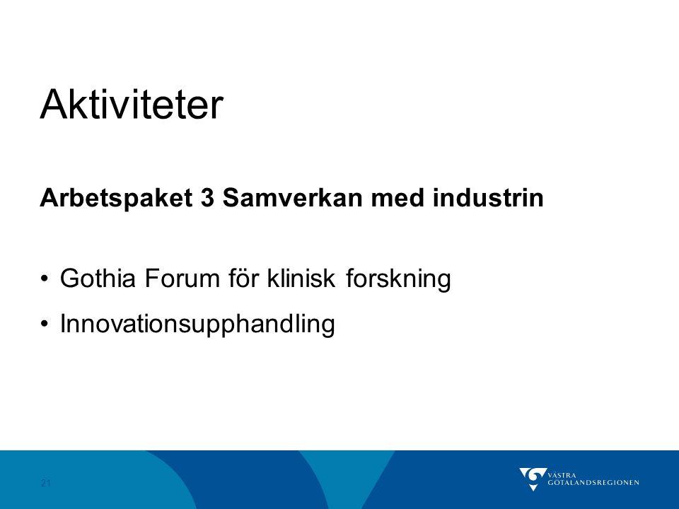 21 Aktiviteter Arbetspaket 3 Samverkan med industrin Gothia Forum för klinisk forskning Innovationsupphandling
