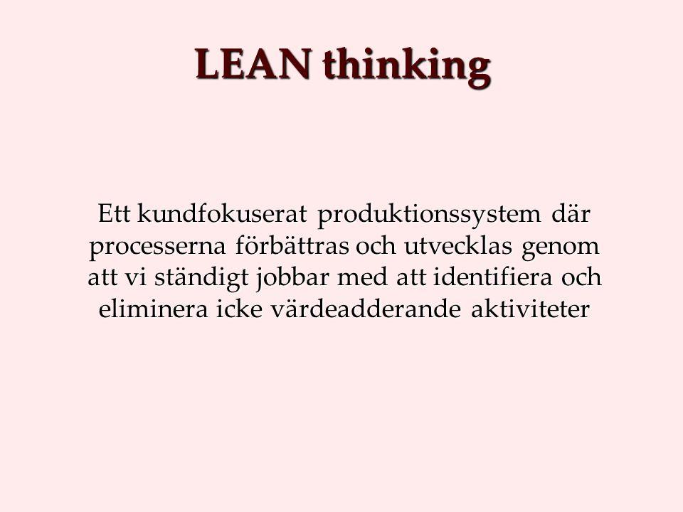 Ett kundfokuserat produktionssystem där processerna förbättras och utvecklas genom att vi ständigt jobbar med att identifiera och eliminera icke värdeadderande aktiviteter LEAN thinking