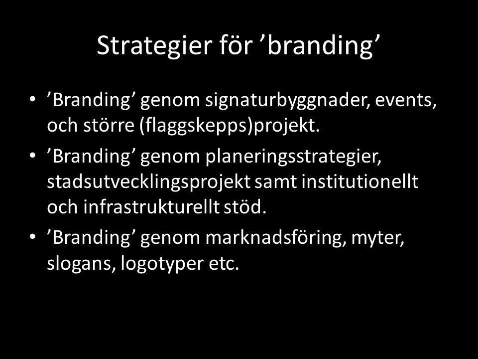 Strategier för 'branding' 'Branding' genom signaturbyggnader, events, och större (flaggskepps)projekt.