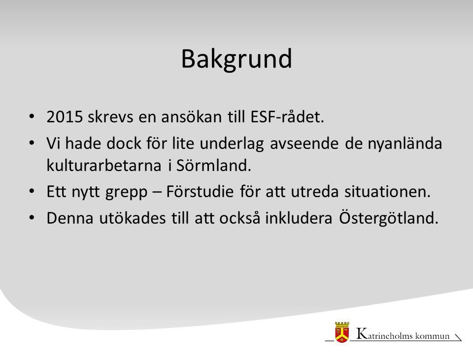 Bakgrund 2015 skrevs en ansökan till ESF-rådet.