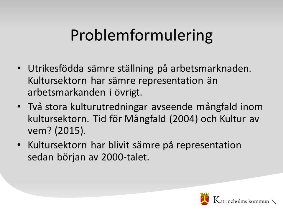 Problemformulering Utrikesfödda sämre ställning på arbetsmarknaden.
