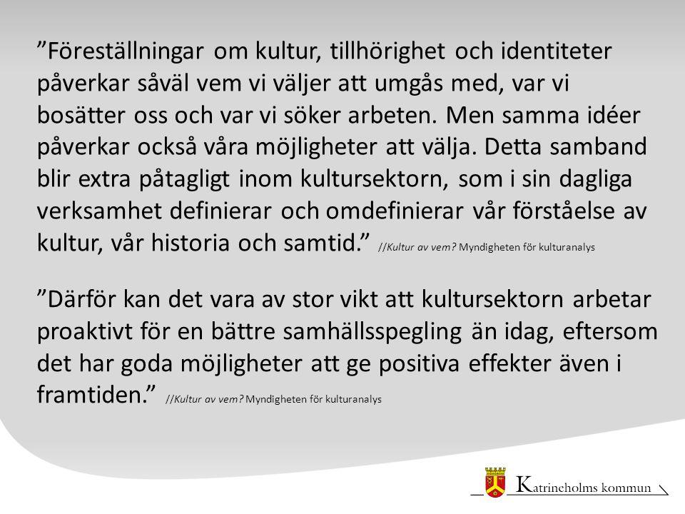 Förstudiens syfte Syftet med att genomföra en förstudie är att få en helhetsbild av hur situationen ser ut rörande nyanlända kulturarbetares möjligheter till etablering på den svenska arbetsmarknaden, huvudsakligen i Östergötland och Sörmland.