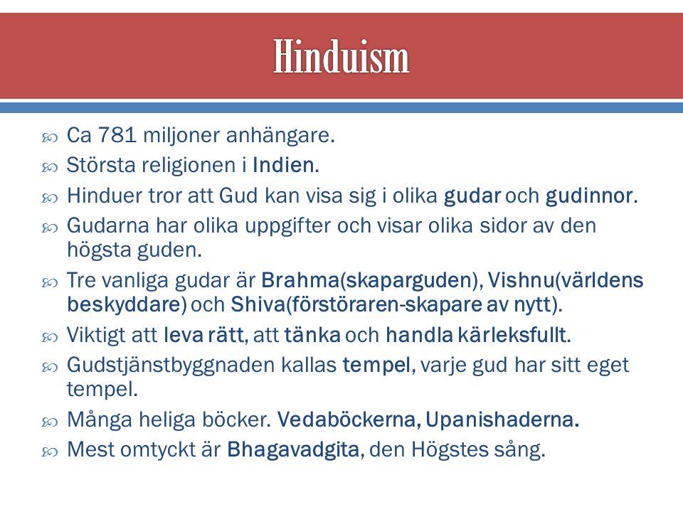  Ca 781 miljoner anhängare.  Största religionen i Indien.